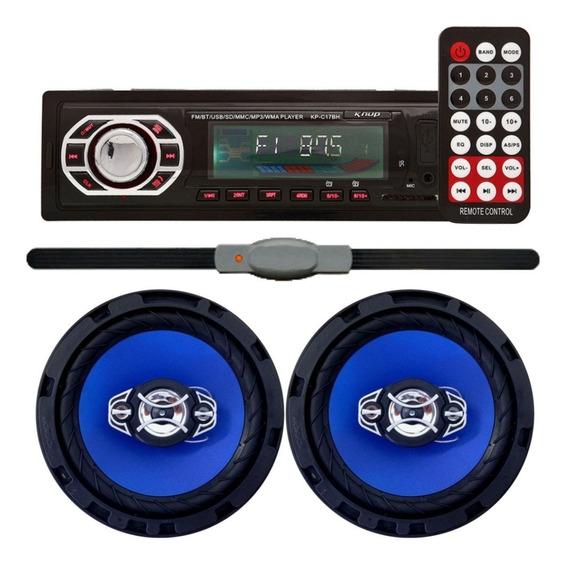 Kit 2 Alto Falante 6 Pol + Rádio Mp3 Usb Sd + Antena Stetsom