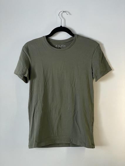 Zara Original Playera Small Hombre Verde Militar Stretch-fit