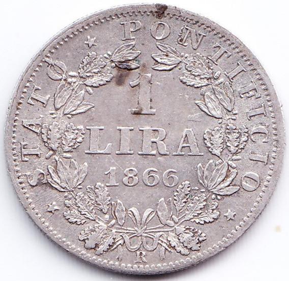 Vaticano Moneda 1 Lira 1866 R Plata Km# 1378 Vf+