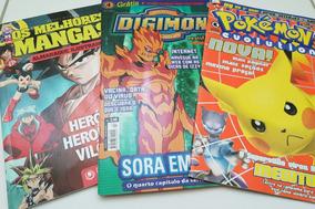 Lote Os Melhores Mangás Revistas Digimon E Pokemon