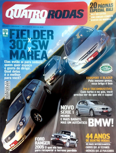 Revista 4 Rodas Fielder X 307 Sw X Marea  No.529 Agosto 2004