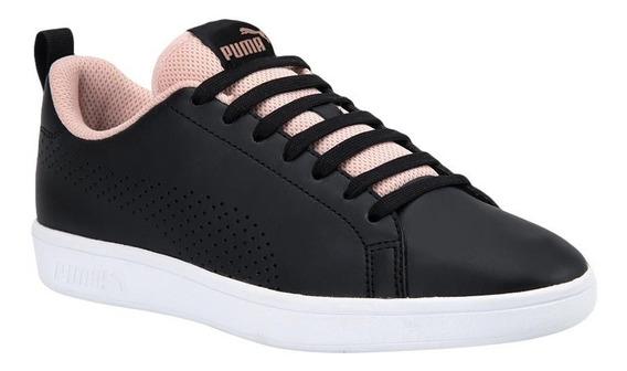Tenis Casual Puma Smash Ace Negro Rosa Mujer 871434