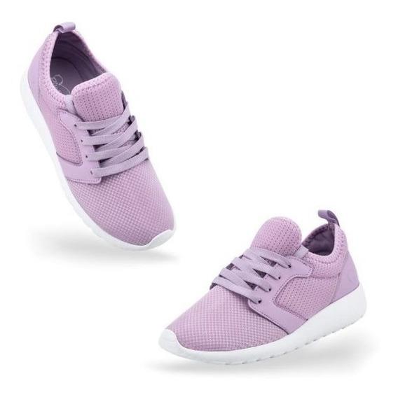 Tenis Salir Lindo Bonito Caminar Casual Pink 376w Lila Mujer