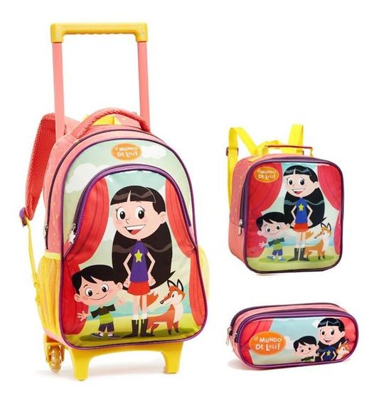 Kit Mochila Escolar Infantil Meninas Mundo Luli Tam G Luna
