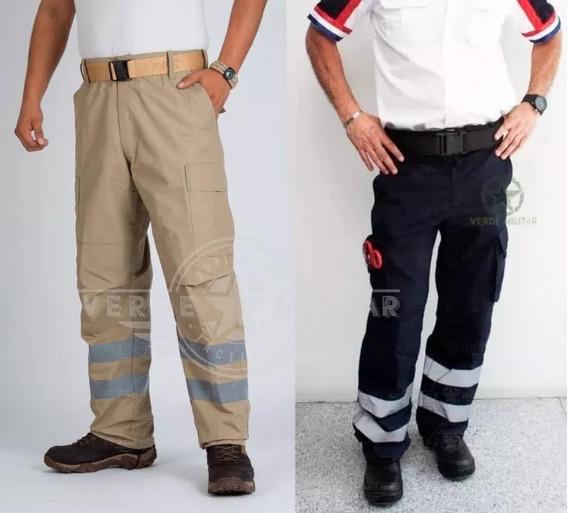 Pantalón Con Reflejante Paramedico Ripstop Antirrasgadura Visibilidad Nocturna Para Moto Bici Bolsas De Cargo Comando