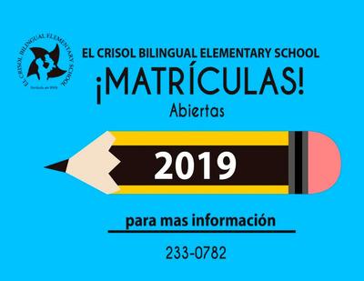 ¡matrículas Abiertas! El Crisol Bilingual Elementary School