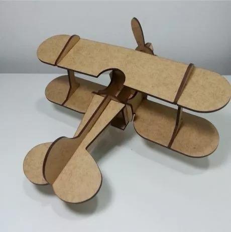 25 Avião Biplano Madeira Mdf Puzzle 3d