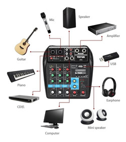 Console De Mixagem De Som Bluetooth 48 V Phantom Power