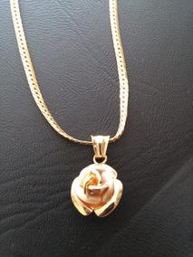 Gargantilha Feminina C/ Pingente Em Formato De Rosa Ouro750k