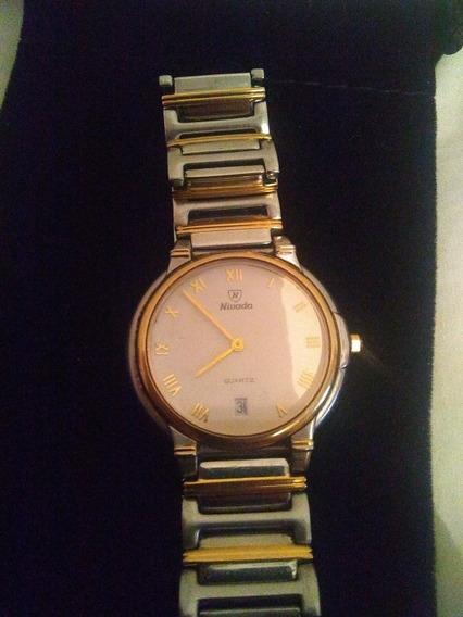 Elegante Reloj Nivada Combinado Acero Oro Cristal Zafiro