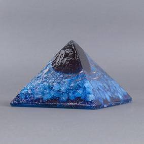 Orgonite Pirâmide Azul Com Pedra Estrela - Conhecimento E Es