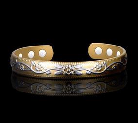 Pulseira Bracelete Cobre Magnética Desenho Flor Promoção
