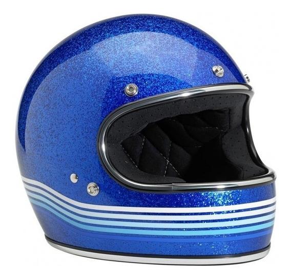 Capacete Biltwell Gringo Spectrum Azul Megaflake Xs 53/54cm