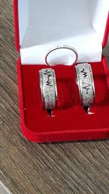 Alianças Namoro Ouro E Prata Diamantadas 6mm 12gSalvar