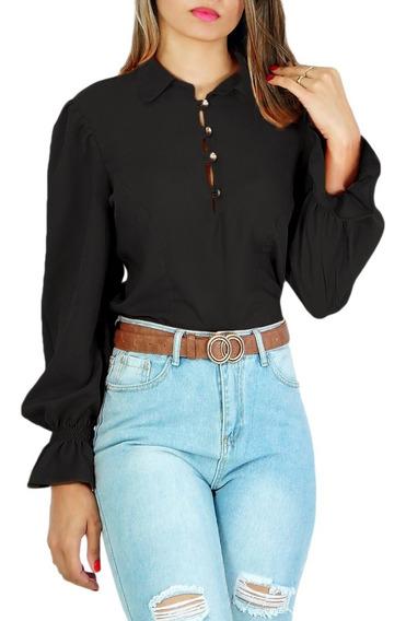 Blusa Camisa Feminina Manga Longa Modeni