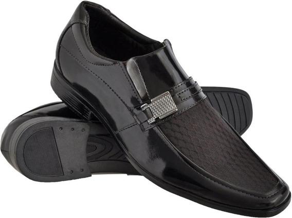 Sapato Social Masculino Com Texturas Solado Leve Em Borracha