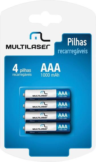 Pilha Recarregavel Aaa 1000mah C/4 Cb050 Multilaser