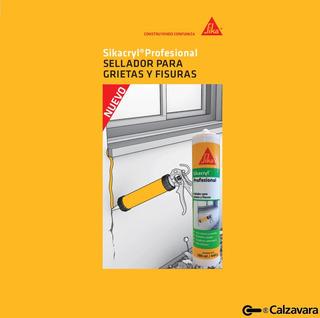 Sikacryl Profesional Sellador / Silicona Para Grietas Y Fisuras (sellador Acrilico) X 300 Ml