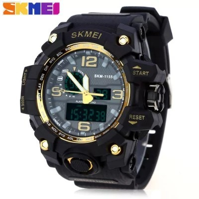 Relogio Skmei 1155 Men Led Digital Quartz Watch - Golden