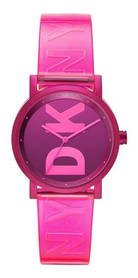 Reloj Unisex Dkny Ny2809 Color Rosa De Poliuretano