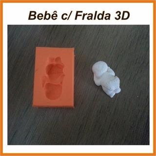 Forma Molde Silicone Bebê Com Fralda 3d