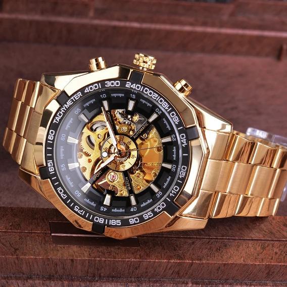 Relógio Masculino Mecânico Esqueleto Gold