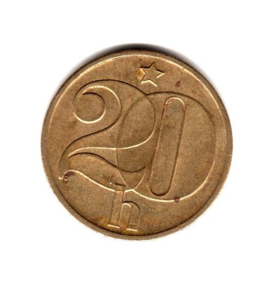 Checoslovaquia Moneda 20 Haleru Año 1980 Km#74