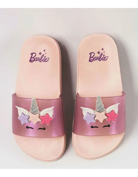 Chinelo Slide Infantil Unicórnio Barbie Grendene Kids 21689