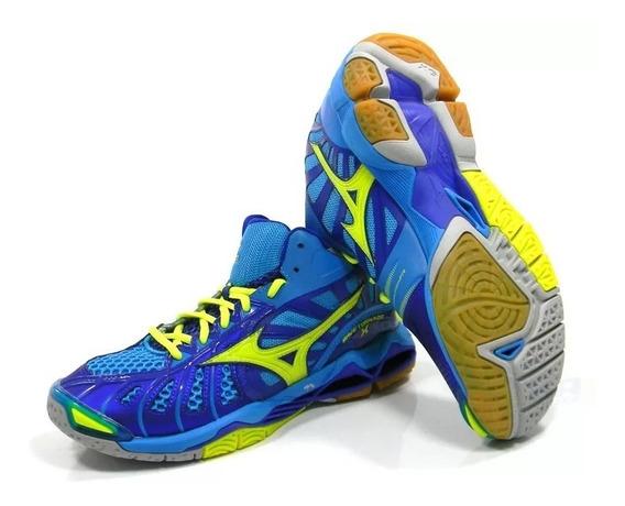 Tenis Mizuno Wave Tornado X Mid Azl/amr Azul/amarelo