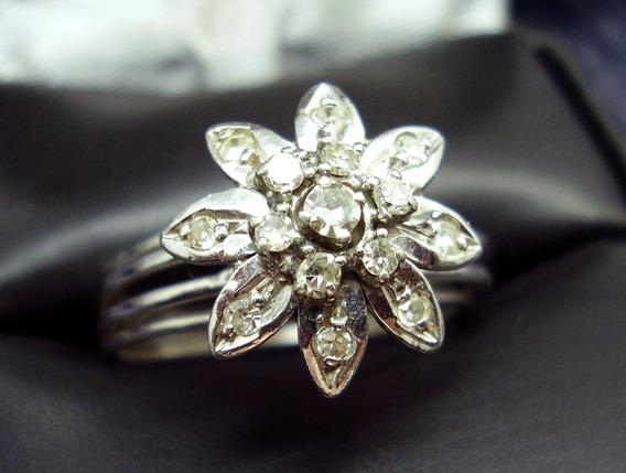 Anel Chuveiro Em Ouro Branco E Diamantes Naturais ....