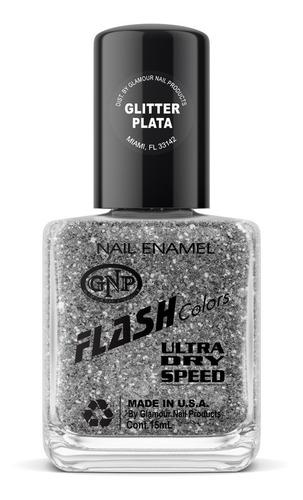Imagen 1 de 4 de Esmalte Flash Colors De Gnp 15ml Glitter Plata