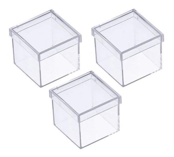 60 Caixinha De Acrilico 5x5x5 Cristal Para Lembrancinhas