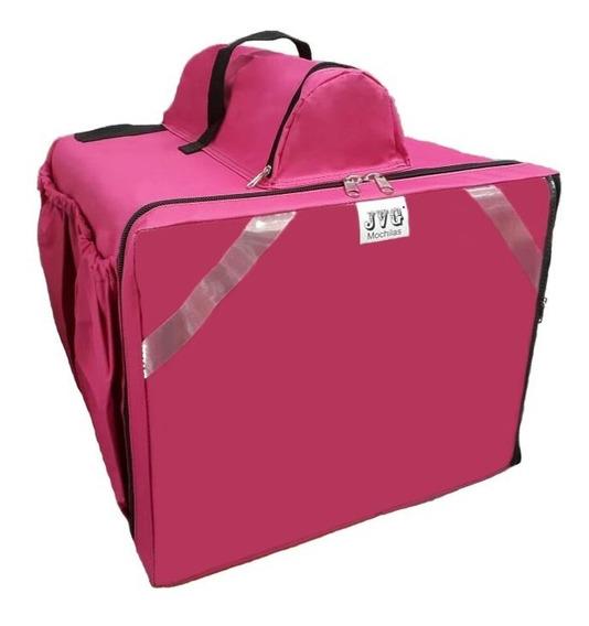 Bag Bolsa Jvg Mochilas® Rosa Entrega Lanche Pizza Laminada