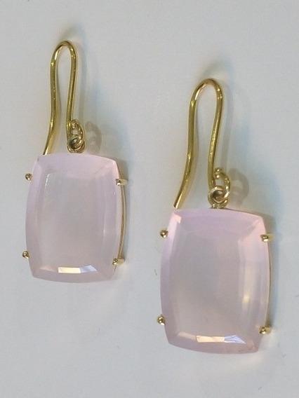 Brincos Em Ouro Amarelo 18k Com Pedras De Quartzo Rosa Natural, Certificado De Garantia E Nota Fiscal.