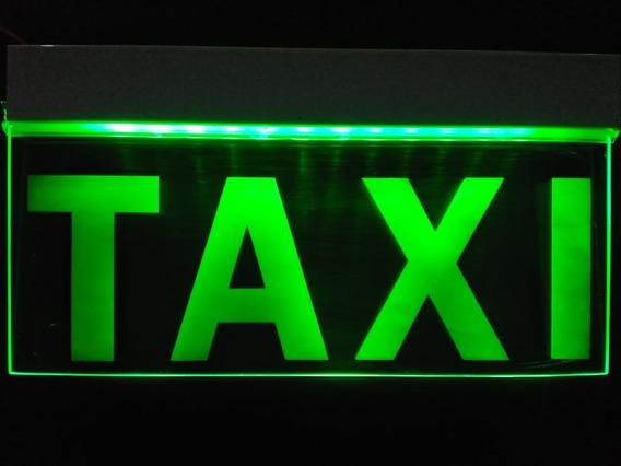 Letrero Anuncio Luminoso Led Taxi 25x12cm Verde