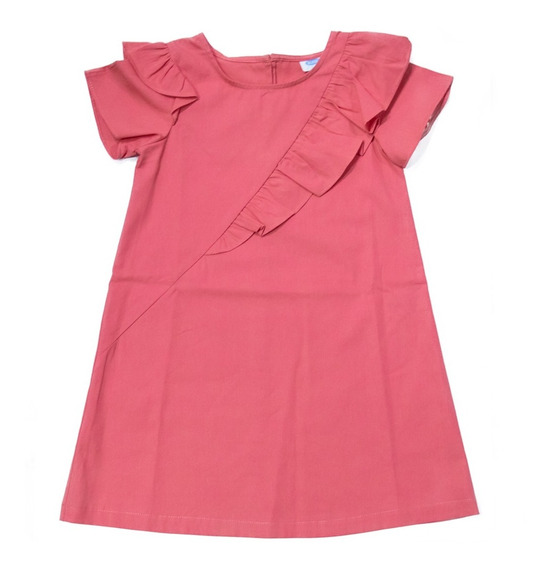 Vestido Niña Casual Escarola Verano Manga Corta Naranja