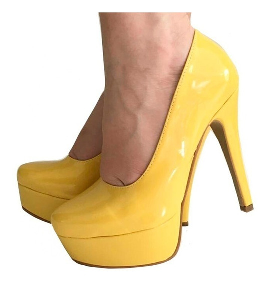 Sapato Amarelo Scarpin Salto Alto Bico Fino Meia Pata Tubara
