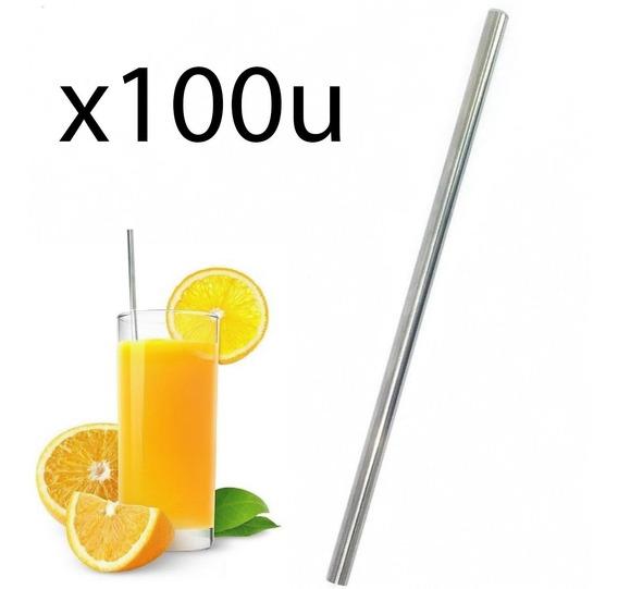 Sorbetes X100 U Pajitas Reutilizables Acero Inox Recto Eco