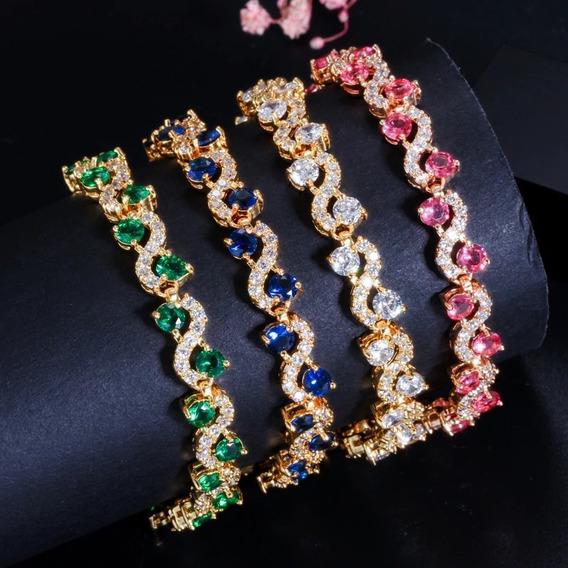 Pulseira Bracelete Prata Ou Dourada Zircônia Noiva Debutante