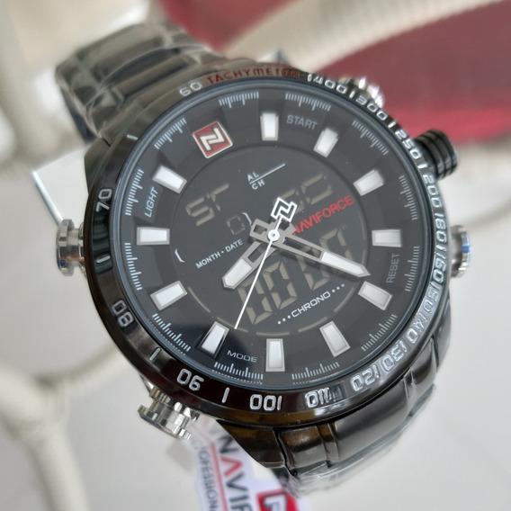 Relógio Naviforce 9093 Preto Novo 12x Sem Juros Envio Em 24h