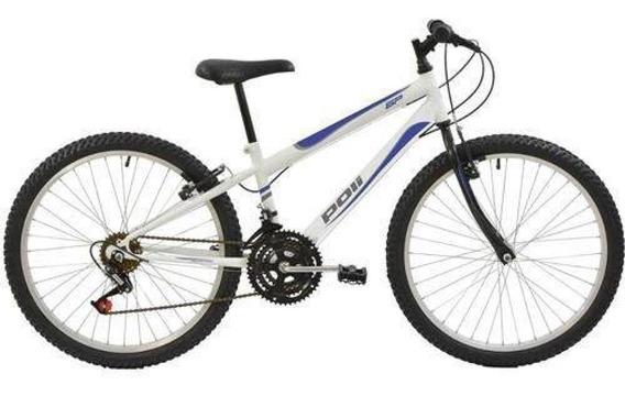 Bicicleta Polimet Mtb Aro 24 Masculina Branca