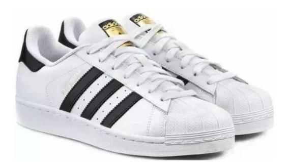Tênis Superstar Branco E Preto
