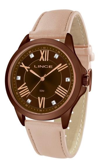 Relógio Lince Feminino Lrcj083l N3rx Marrom Couro Rose