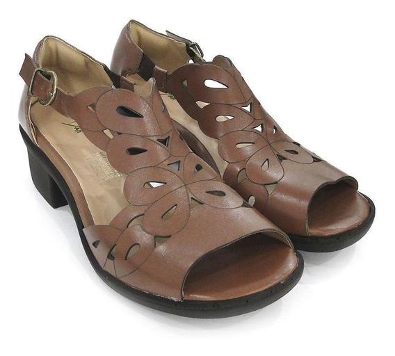 Sandalia Couro Dali Shoes Salto Grosso