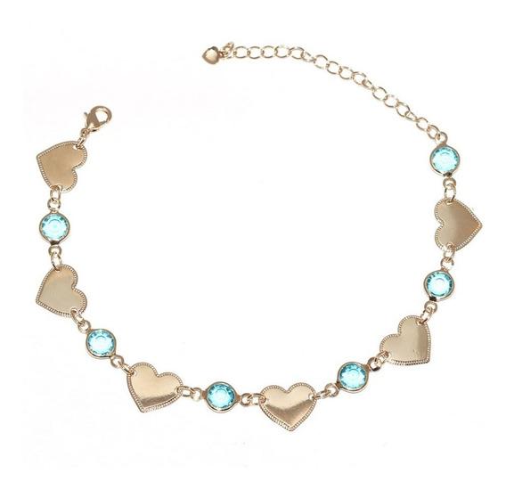Pulseira Delicada Coração Com Pedra Azul Folheado A Ouro