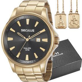 Relógio Seculus Kit C/ Escapulário 35001gpskda1k1 C/ Nf-e