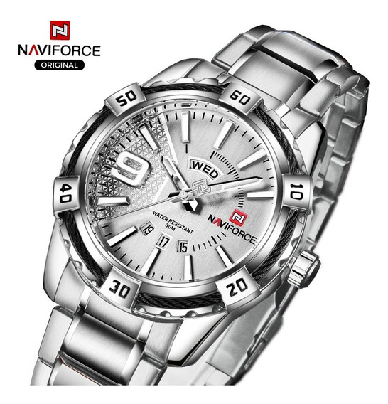 Relógio Masculino Esportivo Luxo Naviforce Original Prateado