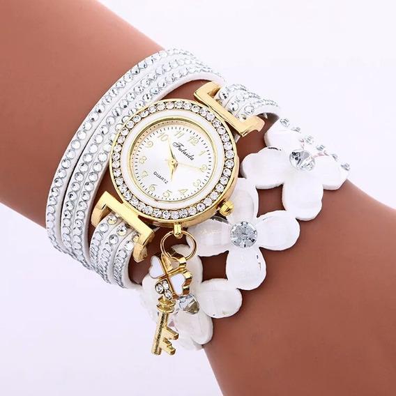 Relógio Feminino Fashion Com Cristal Pulseira Detalhe Flor