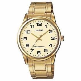 Relógio Casio Masculino Aço Dourado Fundo Dourado C/ Números