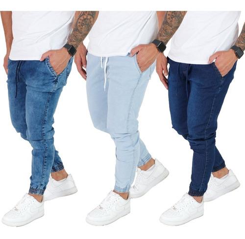 Imagem 1 de 7 de Kit 3 Calça Jeans Cargo Camuflada Masculina Jogger 15 Modelo